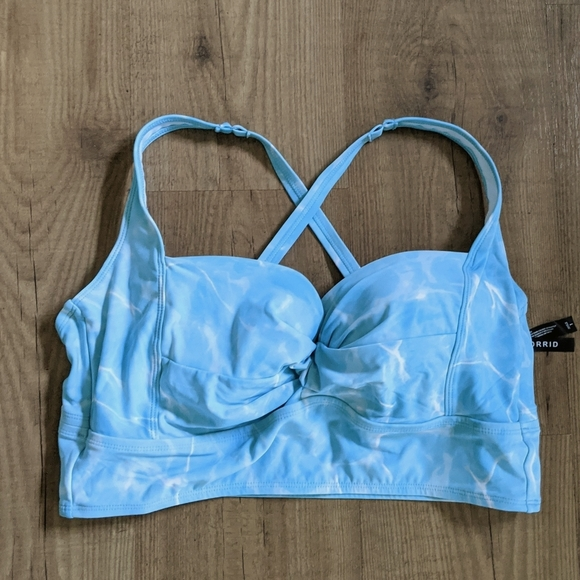 Torrid Plus Blue Ocean Twist Front Bikini Top 1